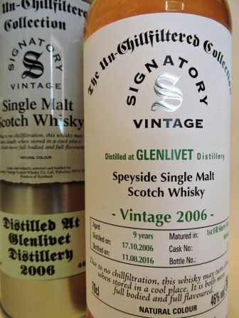 GLENLIVET 2006/2016 9 YEARS OLD SINGLE MALT WHISKY SIGNATORY UN-CHILLFILTERED