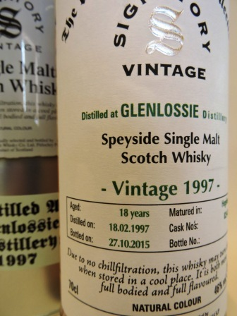 GLENLOSSIE 1997/2015 18 YEARS OLD SINGLE MALT WHISKY SIGNATORY UN-CHILLFILTERED