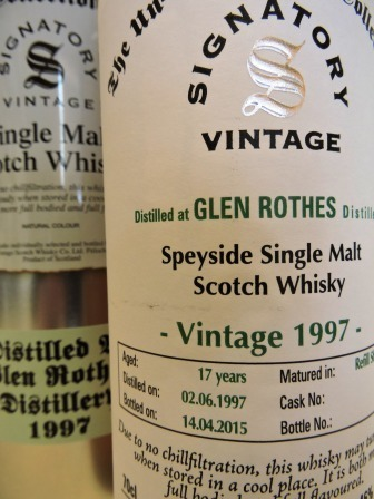 GLEN ROTHES 1997/2015 17 YEARS OLD SINGLE MALT WHISKY SIGNATORY UN-CHILLFILTERED