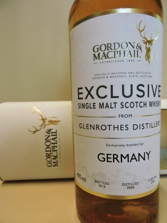 GLENROTHES 2000/2016 SINGLE MALT WHISKY GORDON & MACPHAIL RESERVE BOTTLING FOR GERMANY