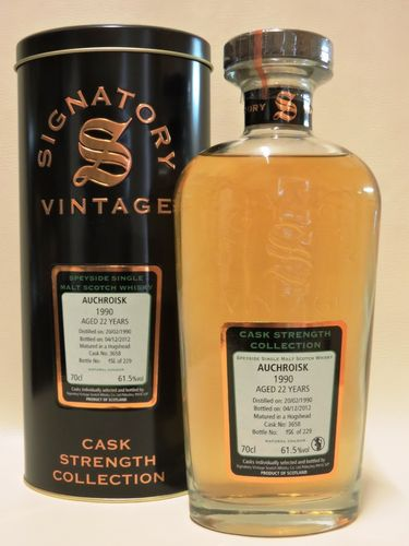 AUCHROISK 1990/2012 22 YEARS OLD CASK STRENGTH SINGLE MALT WHISKY SIGNATORY