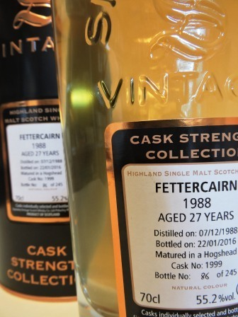 FETTERCAIRN 1988/2016 27 YEARS OLD CASK STRENGTH SINGLE MALT WHISKY SIGNATORY