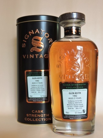 GLEN KEITH 1992/2014 21 YEARS OLD CASK STRENGTH SINGLE MALT WHISKY SIGNATORY