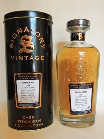 INCHMURRIN 1993/2012 19 YEARS OLD CASK STRENGTH SINGLE MALT WHISKY SIGNATORY