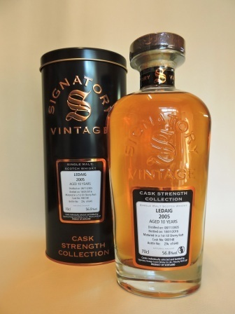 LEDAIG 2005/2016 10 YEARS OLD CASK STRENGTH SINGLE MALT WHISKY SIGNATORY