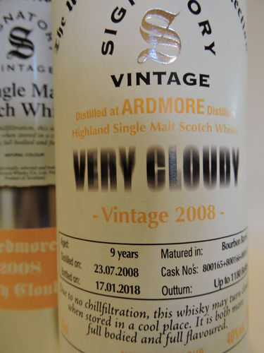 ARDMORE 2008/2018 9 J. VERY CLOUDY WHISKY SIGNATORY UN-CHILLFILTERED