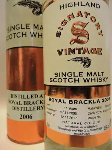 ROYAL BRACKLA 2006/2017 11 YEARS OLD SINGLE MALT WHISKY SIGNATORY VINTAGE