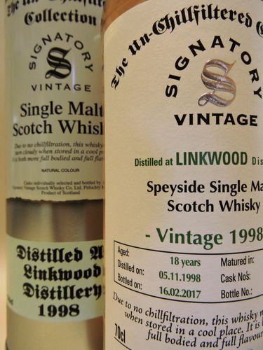 LINKWOOD 1998/2017 18 YEARS OLD SINGLE MALT WHISKY SIGNATORY UN-CHILLFILTERED