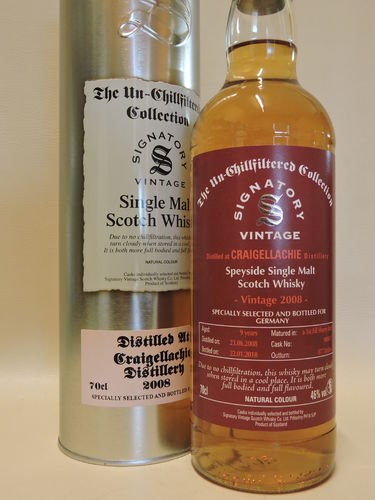 CRAIGELLACHIE  2008/2018 9 YEARS OLD SINGLE MALT WHISKY SIGNATORY UN-CHILLFILTERED