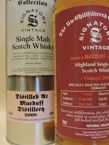 MACDUFF  2008/2018 9 YEARS OLD SINGLE MALT WHISKY SIGNATORY UN-CHILLFILTERED
