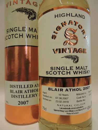 BLAIR ATHOL 2007/2018 10 J. SINGLE MALT WHISKY SIGNATORY VINTAGE